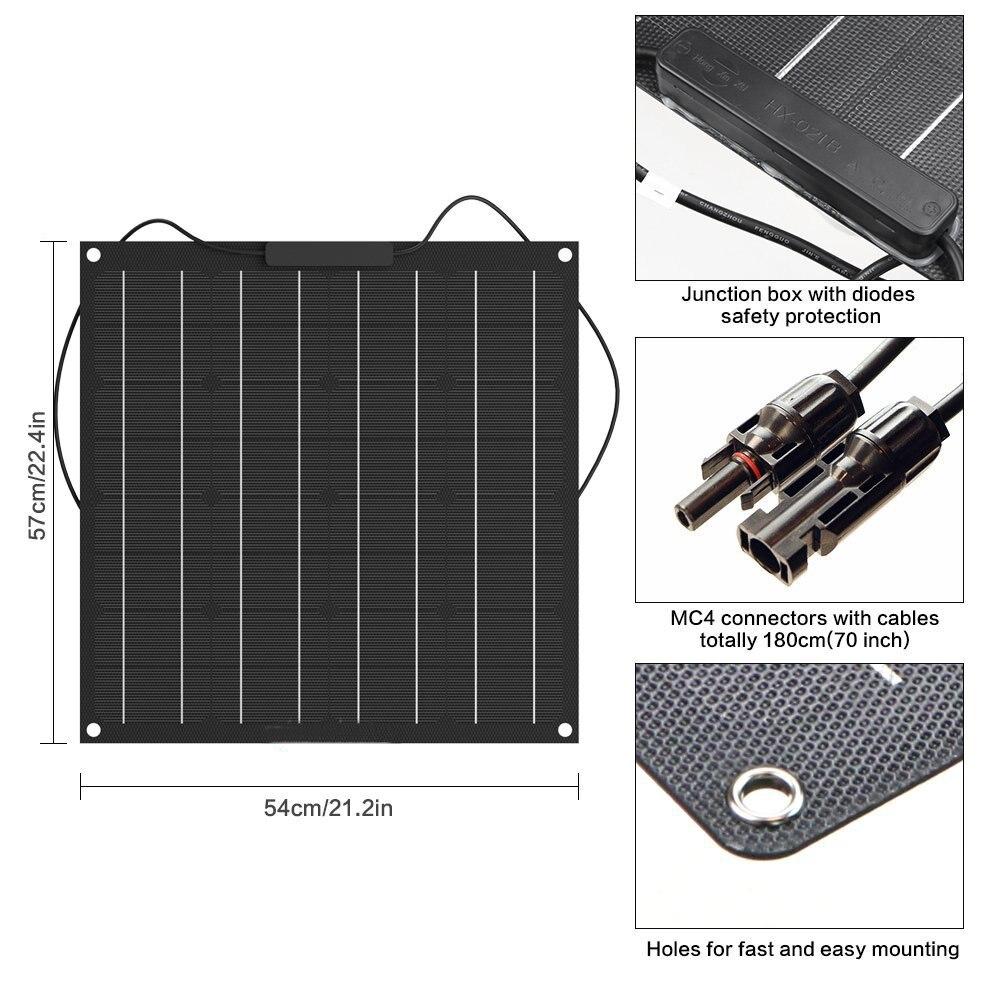 50W Solar Panel 12V Monocrystalline Solar Cell Semi Flexible Battery Charger system kit panel solar For
