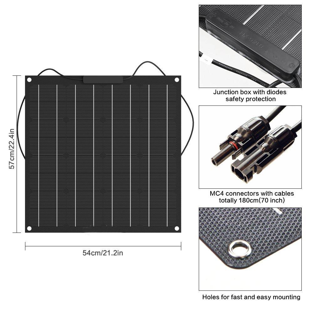 50W Solar Panel 12V Monocrystalline Solar Cell ETFE Semi Flexible Battery Charger system kit panel solar For Boat Caravan-in Solar Cells from Consumer Electronics    1
