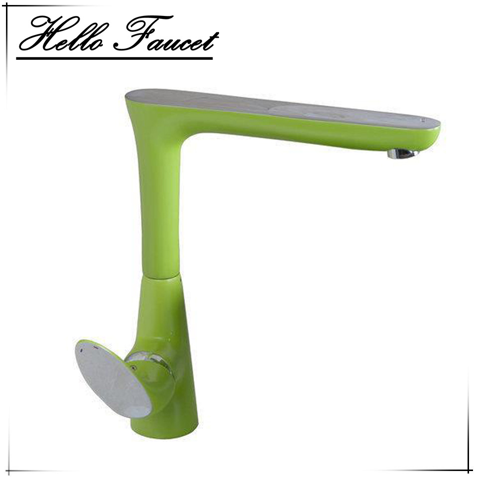 Newly Green Painting Swivel Chrome Basin Water Kitchen Sink Faucets Torneira Vessel Lavatory Faucets Mixers Taps