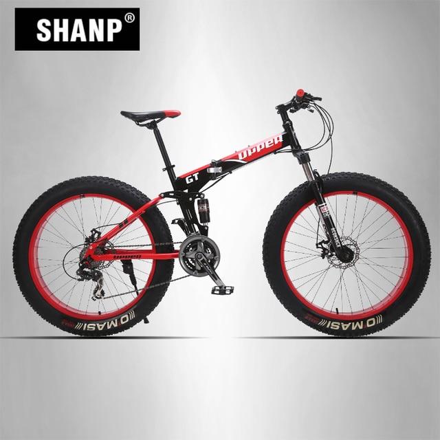 "GT-UPPER Mountain Fat Bike Full Suspension Steel Folding Frame 24 Speed Shimano Mechanic Brake 26""x4.0 Colored Wheel"