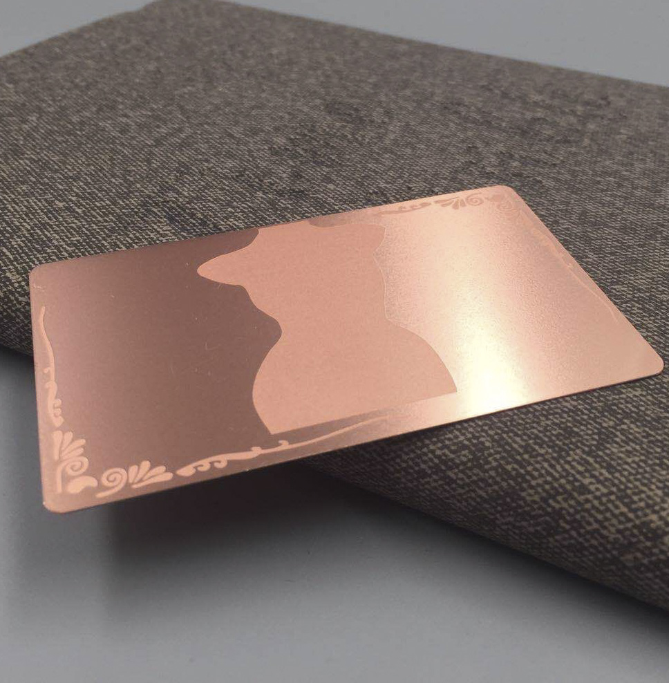 Wholesale High Quality Customized Rose Gold Plated Stainless Steel Metal Mirror Business Card