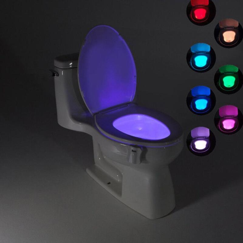 8 Colors Smart Bathroom Toilet Nightlight LED Body Motion Activated On/Off Seat Sensor Lamp PIR Toilet Night Light Lamp sensor toilet light led lamp human motion activated pir 8 colours automatic night lighting