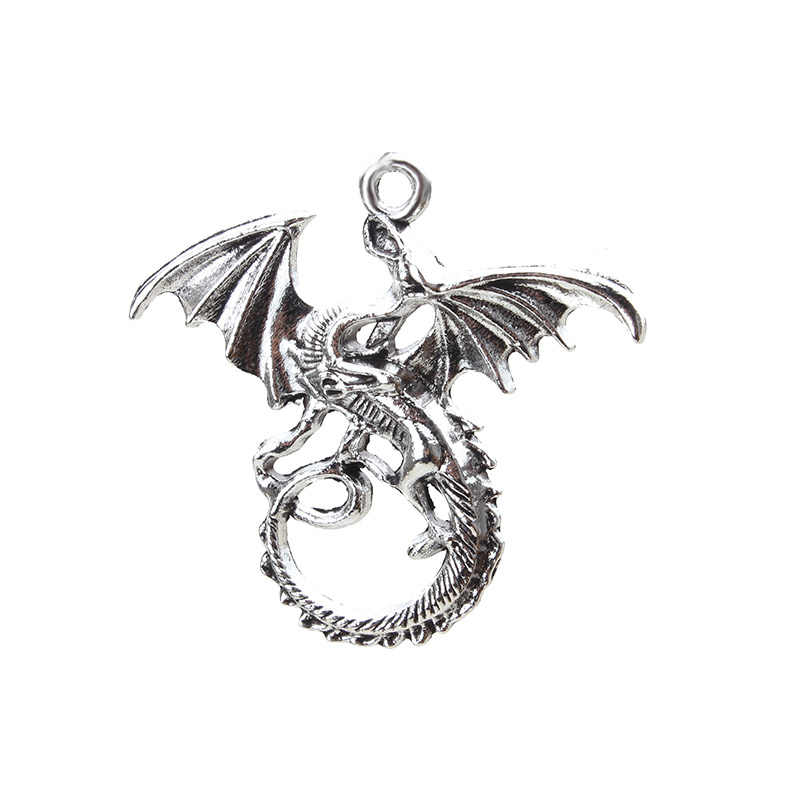 5pcs/lot Dragon Charms Pendants Metal Jewelry Findings Alloy Charms Antique Silver Plated Charms Accessories 44*45mm Pendant