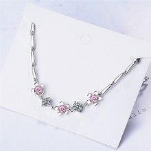 TJP Charm Crystal Pink Flower Bracelets For Women Jewelry Top Quality 925 Sterling Silver Bracelet Girl Zircon Accessories