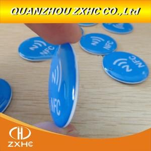 Image 1 - 3 sztuk/partia wodoodporna niebieska przezroczysta żywica epoksydowa tag NFC Ntag213 dla wszystkich telefonów NFC