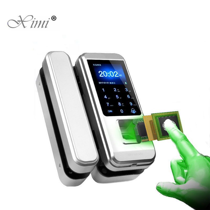 XM-300 Biometric Fingerprint Frameless Glass Door Lock Office Keyless Electric Smart Card Door Lock With Touch Keypad