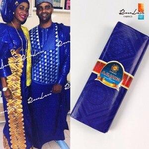 품질 상품 로얄 블루 컬러 bazin 부자 레이스 패브릭 손으로 만든 분지 아프리카 인도 여성 또는 남성 일일 의류 코튼 소재