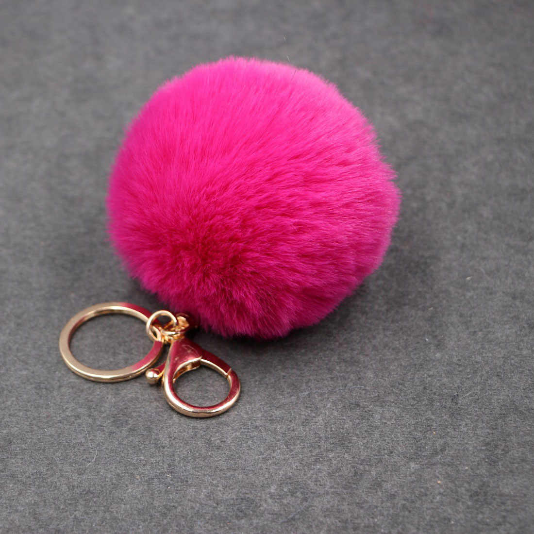 8 CM 20 Cores Pompom Fofo Chaveiro Bola de Pêlo de Coelho Bonito Creme Preto Artificial Pele De Coelho Chaveiro Carro Das Mulheres saco do Anel Chave