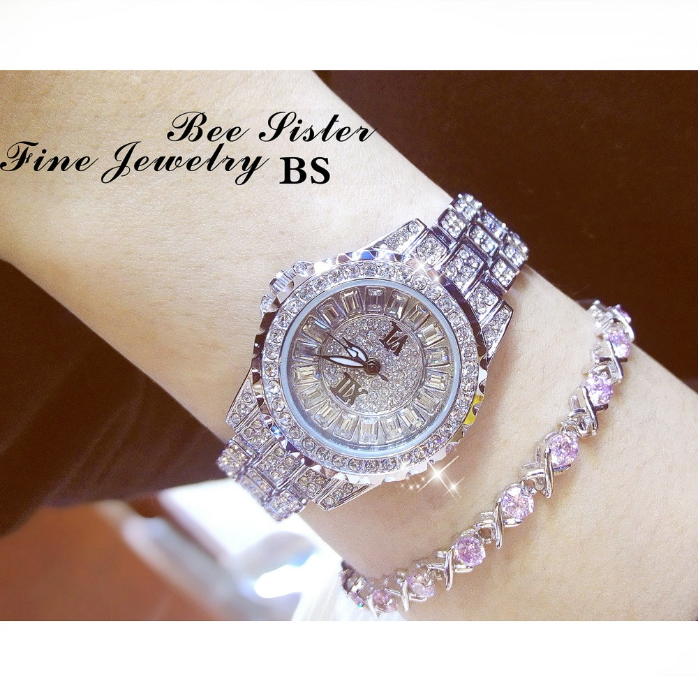 Ny Ankomst Famous Brand BS Luksus Kvinner Dressing Watch Lady Full Diamond Smykker Se New Fashion Square Austria Crystal Watch