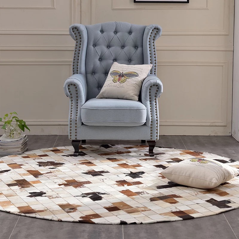 New Cowhide Rug Round Carpet For Restaurant Sofa Study