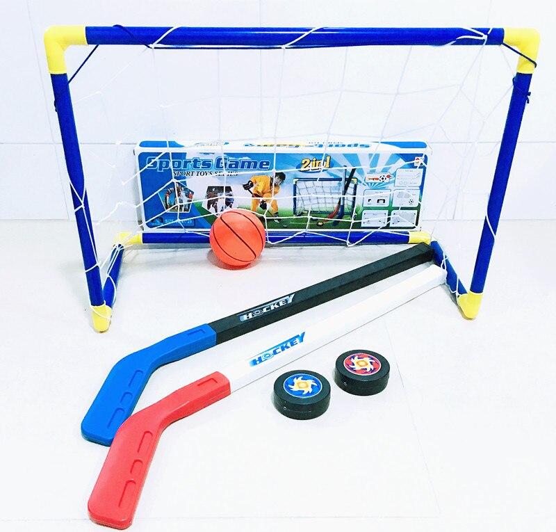 6pcs/set Kids Child Ice Hockey Stick Training Tools Plastic 2xSticks 2xBall 1football 1goal Sports Toy For Less 10 Years 062201