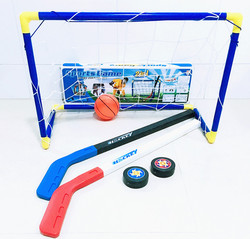 6pcs/set Kids Child Ice Hockey Stick Training Tools Plastic 2xSticks 2xBall 1football 1goal Sports Toy for less 10 years 062201