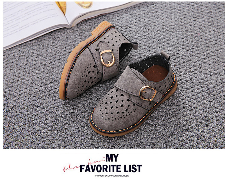 Summer Children Shoes PU Leather Sport Shoes Buckle Strap Child Casual Kids Shoes For Girls Cut-Outs Martin Baby Boys Sneakers 18