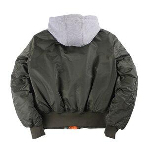 Image 2 - 2019 ฤดูหนาวขนาดใหญ่ MA 1 hooded streetwear hip hop กองทัพทหารเสื้อโค้ทเสื้อผ้า BOMBER Flight AIR FORCE นักบินชายเสื้อ