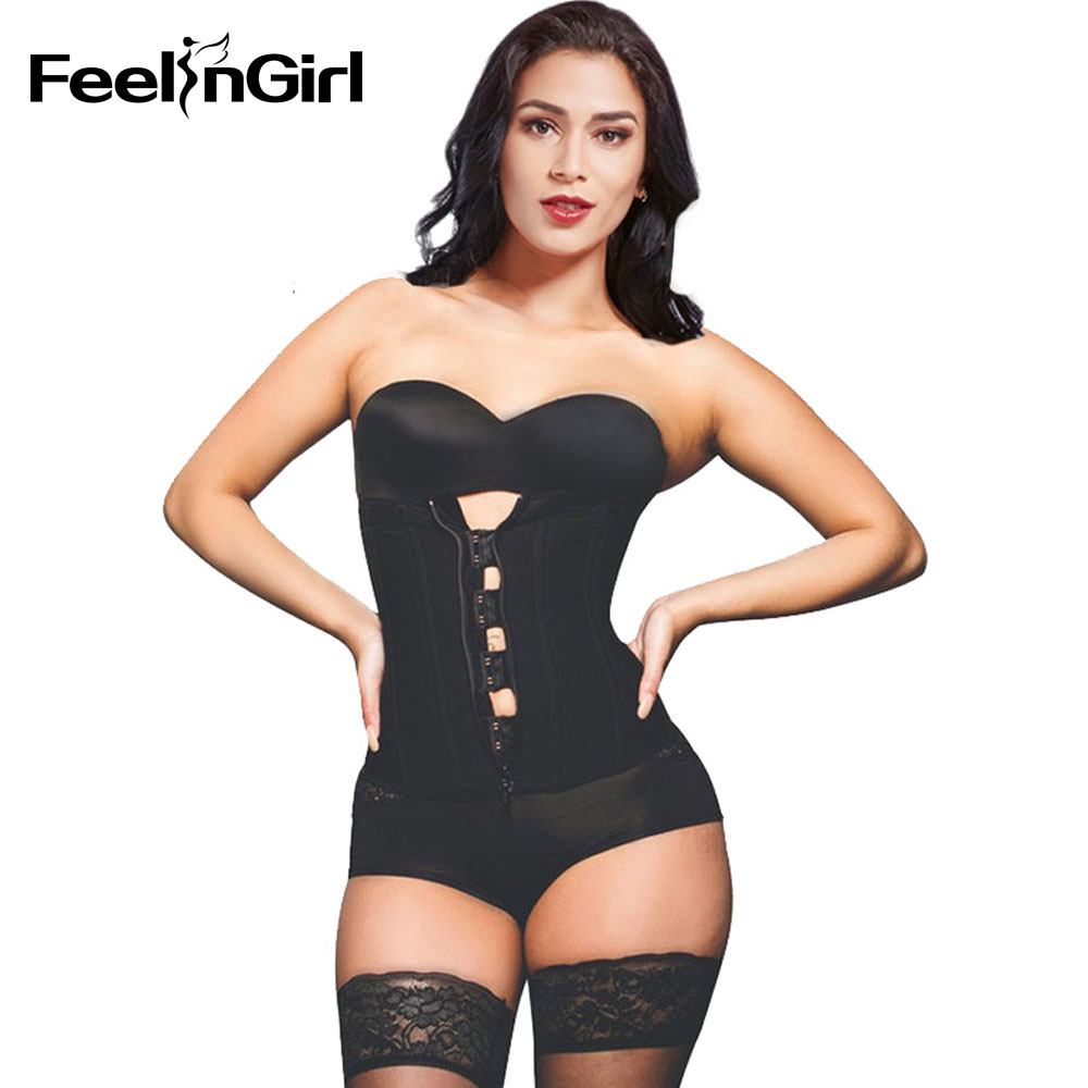d81052cc0f9 FeelinGirl Hook Zipper Rubber Latex Waist Trainer Sexy Corsets and Bustiers  Waist Cincher Corset Tops Slimming Shapewear Women