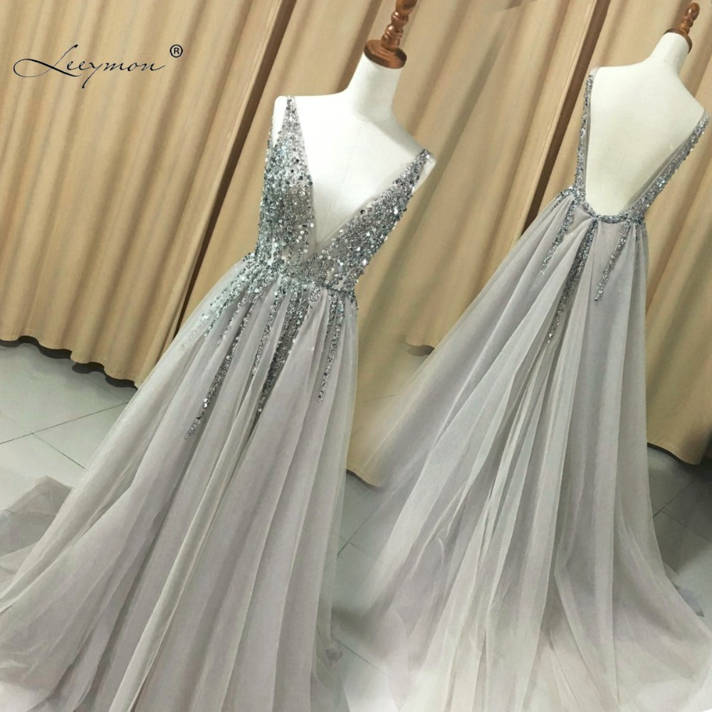 V Neck Sparkly Evening Dress 2018 Backless Evening Party Dress Elegant Sexy See Through High