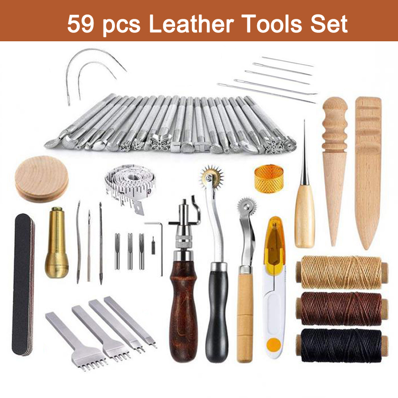 59 Pcs Set Leather Craft Tools Kit for Hand Sewing Stitching Stamping Saddle Making DIY Leather Handmade Craft New Arrival59 Pcs Set Leather Craft Tools Kit for Hand Sewing Stitching Stamping Saddle Making DIY Leather Handmade Craft New Arrival