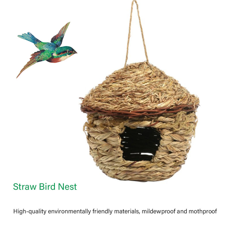 Home Sensible Straw Bird Nest Birdhouse For Parrot Hamster Small Animals Cage Birds Breeding Nest Bird House Home Hanging Decor Ornament New Varieties Are Introduced One After Another