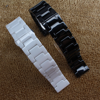 14mm 16mm 18mm 19mm 20mm 22mm Watchband ceramic Black White For mens watches ladys hours accessories butterfly buckle fashion