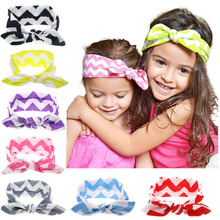 Hot Sale Lovely Girls Printing Tie BowKnot Hair Bands Colorful Rabbit Ear Ribbon Elasticity Kids Hair