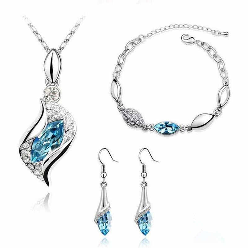 MINHIN Elegant Luxury Design Silver Plated Multi Colors Austrian Crystal Wedding Jewelry Sets Birthday Gifts For Women