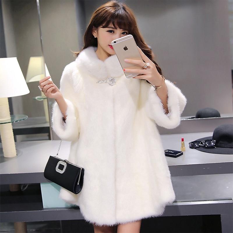Aelorxin Women Faux Fur Coat Jacket Winter Fur Coats Female 2019 Winter Three Quarter Sleeves Fur Coat Manteau Fourrure Femme