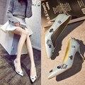 Nueva la flor joya de diamantes señora elegante estilo de corea zapatos stilettos punta estrecha shallow boca mujeres zapato 34-43