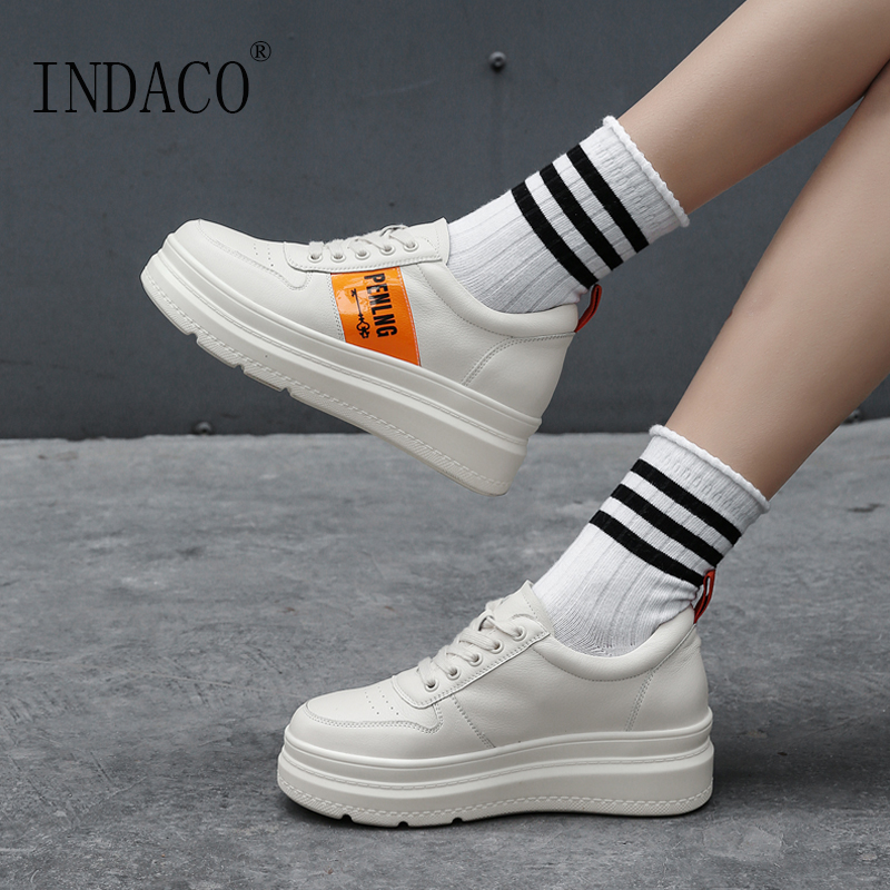 2019 Spring Sneakers Women Leather Casual Shoes Platform Fashion Sneakers 5 5cm