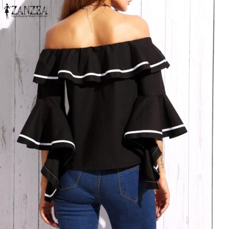 HTB1XaLhRFXXXXbhXpXXq6xXFXXXU - Butterfly Sleeve Slash Neck Off Shoulder Shirts PTC 37