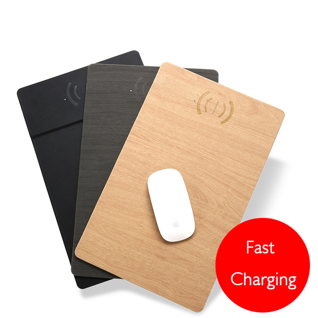 2 in 1 Mouse Pad/Mat Wood With Wireless Charger for iPhone X iPhone 9 8/8 9Plus Samsung Note 8/S9