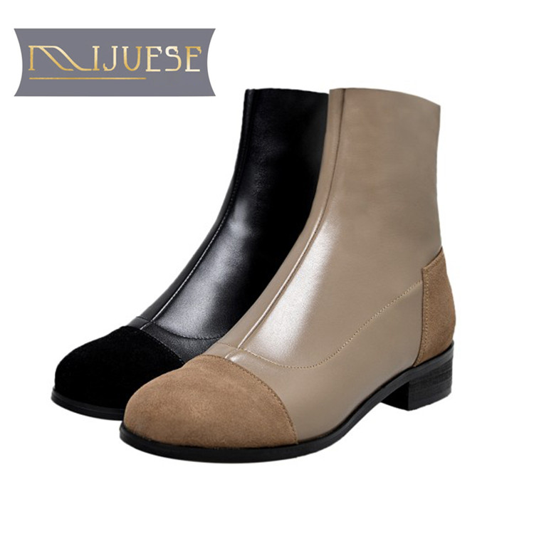MLJUESE 2019 women ankle boots cow leather zipper mixed colors round toe low heel boots winter short plush warm boots size 34-43 утяжелители bradex по 1 кг пара геракл плюс