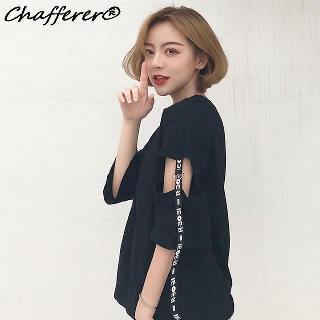Chafferer חור בתוספת גודל נשים ארוכות חולצת טריקו Tees מכתב בסגנון קוריאני לא חולצה טלאי סרט Kawaii Harajuku העליון יבול מקרית