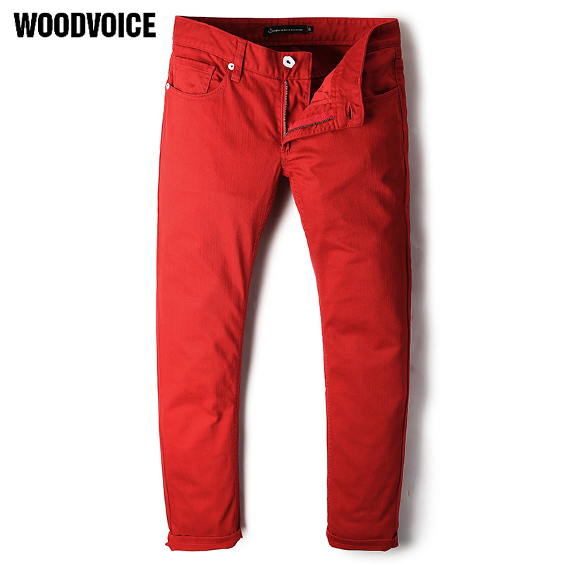 Woodvoice 2017 Denim Mens Jeans Man Classic Stretch Jeans Slim Pants Red Trousers Designer Biker Jeans Men High Quality 60044 white mens skinny jeans 2017 fashion mens jeans slim straight high quality stretch skinny ripped biker jeans for men jw108