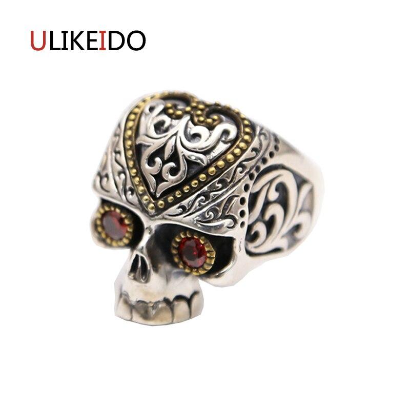 100% чистый 925 пробы Серебряные ювелирные изделия Череп открытым Мода Властного Скелет Панк пират кольцо для Для мужчин подарок кольца 284