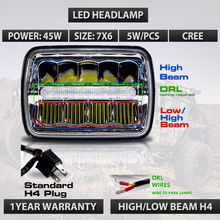 New 7×6 LED Headlights H4 Plug Light with DRL for Wrangler YJ Cherokee Comanche 5×7″ Led Headlight 45W Led working light x1pc