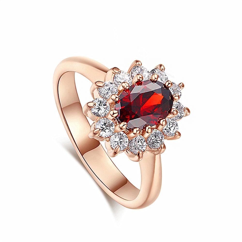100% QualitäT Mode Zirkon Blau Rot Stein Ringe Luxus Hochzeit Engagement Finger Ring Für Frauen Schmuck Geschenk