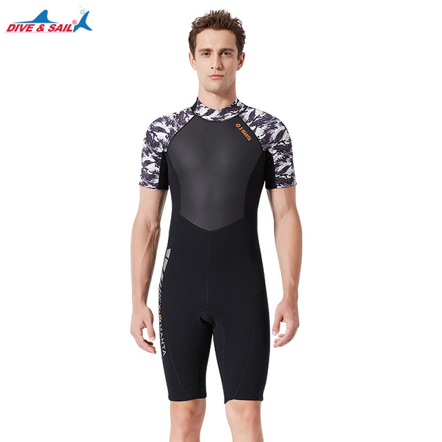 1.5mm Neoprene Wetsuits Swimwear UPF50+ One-piece Short Sleeve Snorkeling Surfing Diving Sailing Clothing Full Suit for Swimming