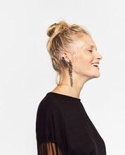 2016 Long Vintage Tassel Flower Earings Fashion Women ZA Jewelry Big Drop Punk Crystal Antique Silver