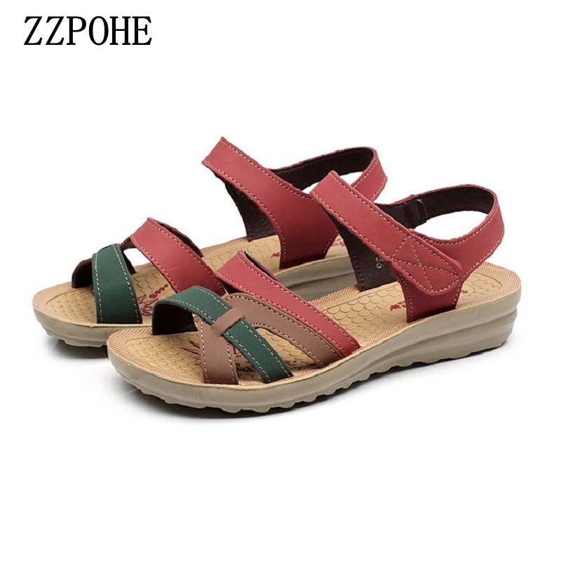 ZZPOHE 2018 Summer High Quality Women Sandals Mother Soft Leather Flat Sandals Large Size Non-slip Comfortable Woman Shoes