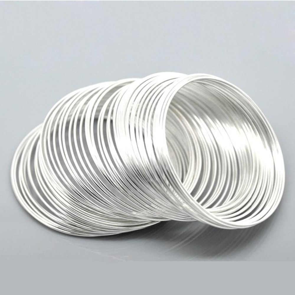 DoreenBeads פלדת חוט זיכרון ואגלי צמידי רכיבים עגול כסף צבע DIY ממצאי 5cm-5.5cm קוטר, 15 לולאות חמה חדש