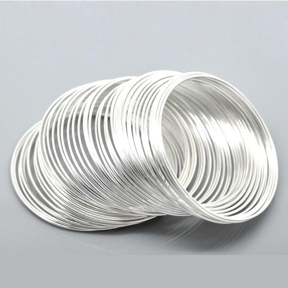 DoreenBeads стальная проволока, бусины с памятью, фотобусины, круглые серебряные, фурнитура «сделай сам», диаметр 5-5,5 см, 15 петель, горячая новинка