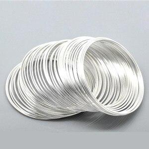 Doreenbeads componentes de pulseiras, miçangas de fio de aço redondo, cor de prata, achados diy, 5cm-5.5cm dia, 15 alças quentes novas