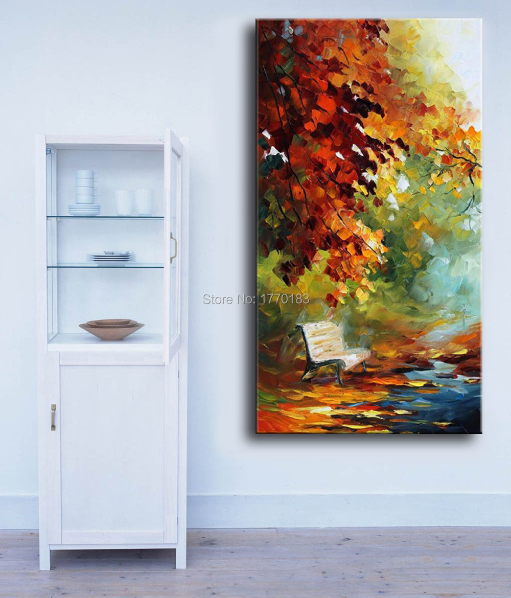 Living Room Paintings For 100 Hand Painted Autumn Landscape View Knife Modern Canvas Oil