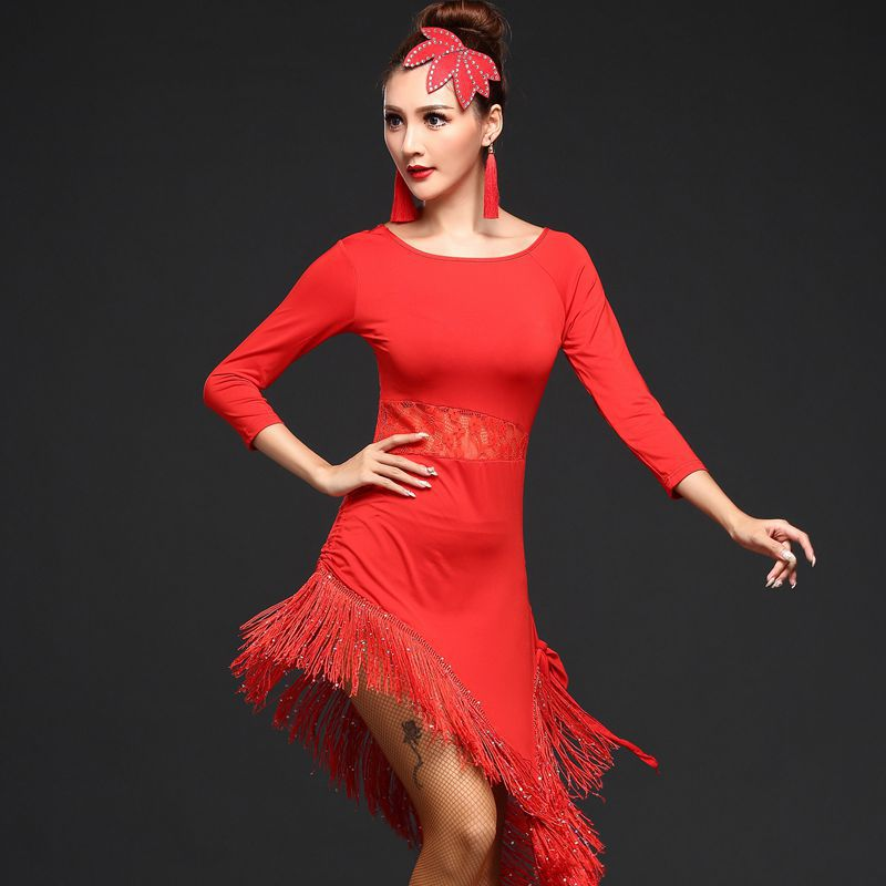 2019 New Style Women Latin Dance Dress Long Sleeve Tassel Latin Ballroom Tango Cha Cha Dress Professional Performance Wear