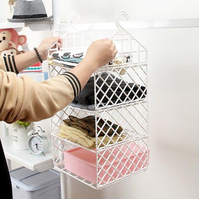 Plastic Foldable Storage Rack Wardrobe Clothes Rack With Hooks Closet  Storage Organizer Plastic Bathroom Shelf