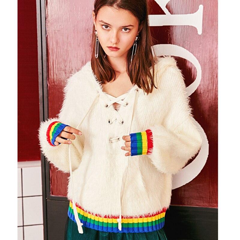 Capuche Manches À Chandails Z955 Nouveau White Mohair Chaud Tricoter Automne Up Mode Printemps Lâche Longues Femmes De Dames Tops Pulls Dentelle Blanc qTwpfn7
