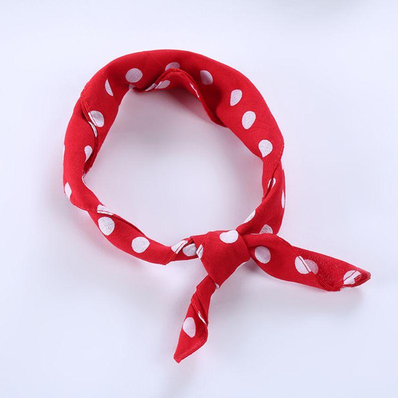55x55cm Women Unisex Vintage Large Polka Dot Square Scarf Cotton Sport Head Wrap Bandana Multifunction Hip-Hop Dancing Wristband