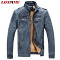 LONMMY M-3XL PU Leather jacket men Slim fit jaqueta mens leather jackets and coats Winter coat men Suede coat Thick velvet 2016