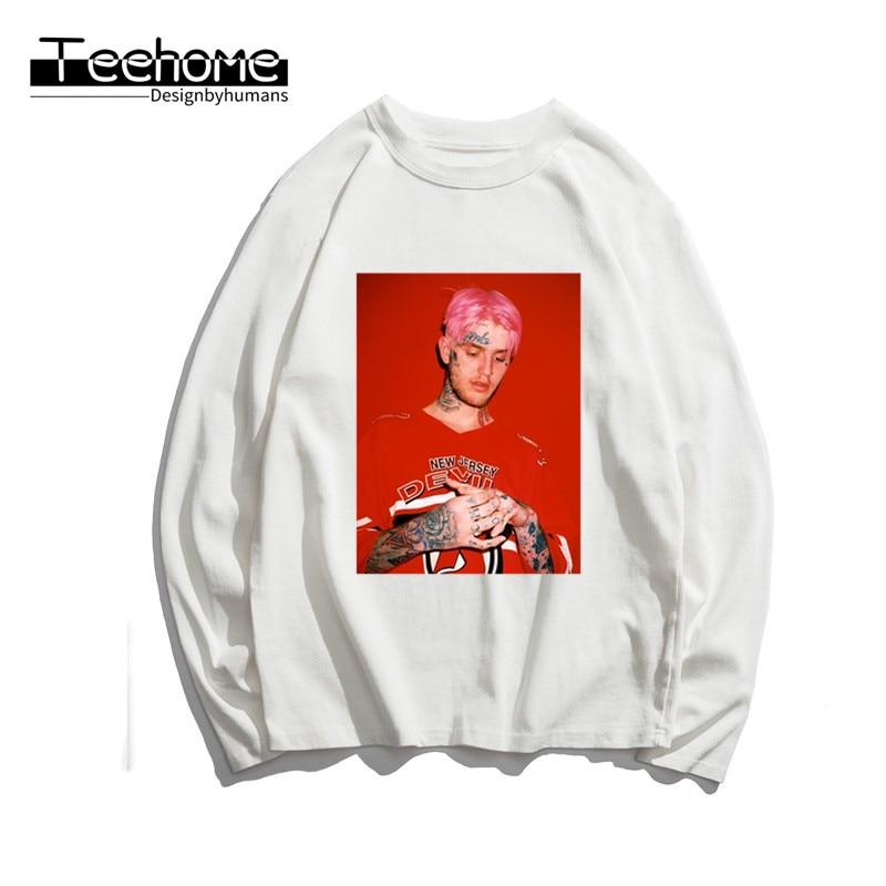 Men's Lil Peep Hip Hop Rap Print Long Sleeve Autumn Men and Women Full Sleeve Harajuku T Shirt Winter Streetwear