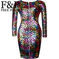 Sexy  Colored Rainbow Leopard Faux Leather Zipper Front Bandage Pencil Dresses New 2015  Long Sleeve  Women's Bodycon Midi Dress